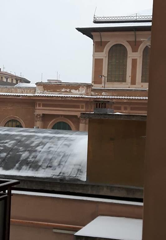 I tetti del Mercato Centrale coperti di neve