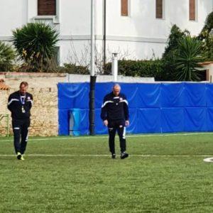 Roberto Breda (a sinistra) insieme ad Antonio Filippini sul campo di allenamento di Borgo Cappuccini
