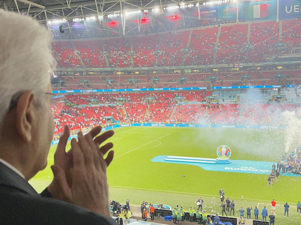 Londra - Il Presidente della Repubblica Sergio Mattarella alla finale degli europei di calcio, oggi 11 luglio 2021. (Ufficio per la Stampa e la Comunicazione della Presidenza della Repubblica)